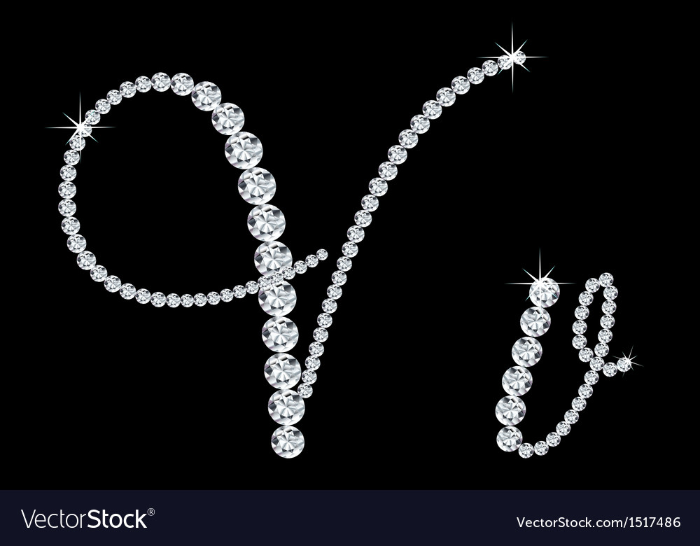 Diamond alphabetic letters of V Royalty Free Vector Image