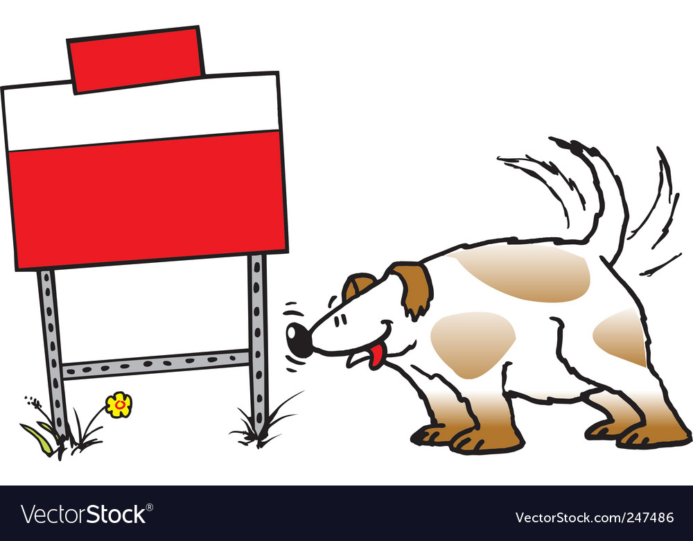 Dog and sign