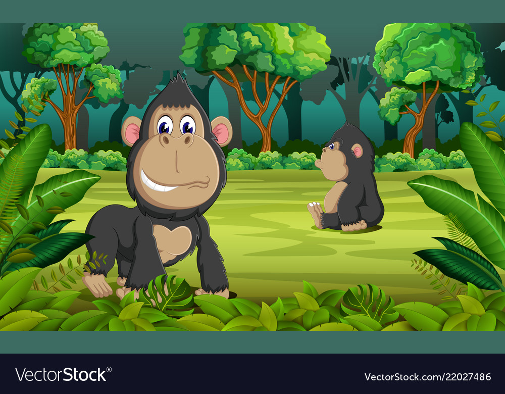 Forest background with two gorilla playing