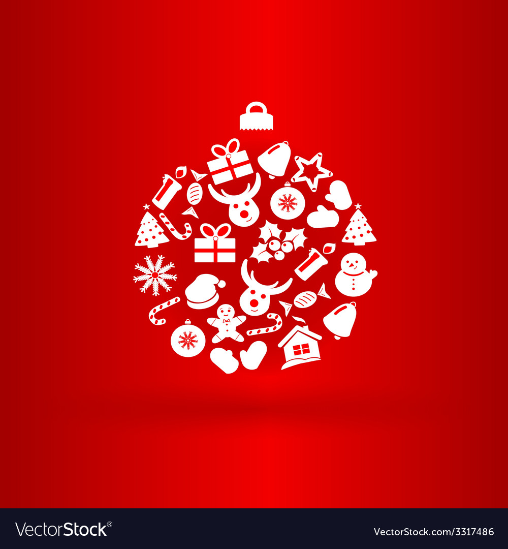 Funny christmas ball with icons