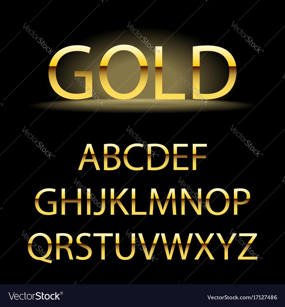 Golden alphabet letters golden font type