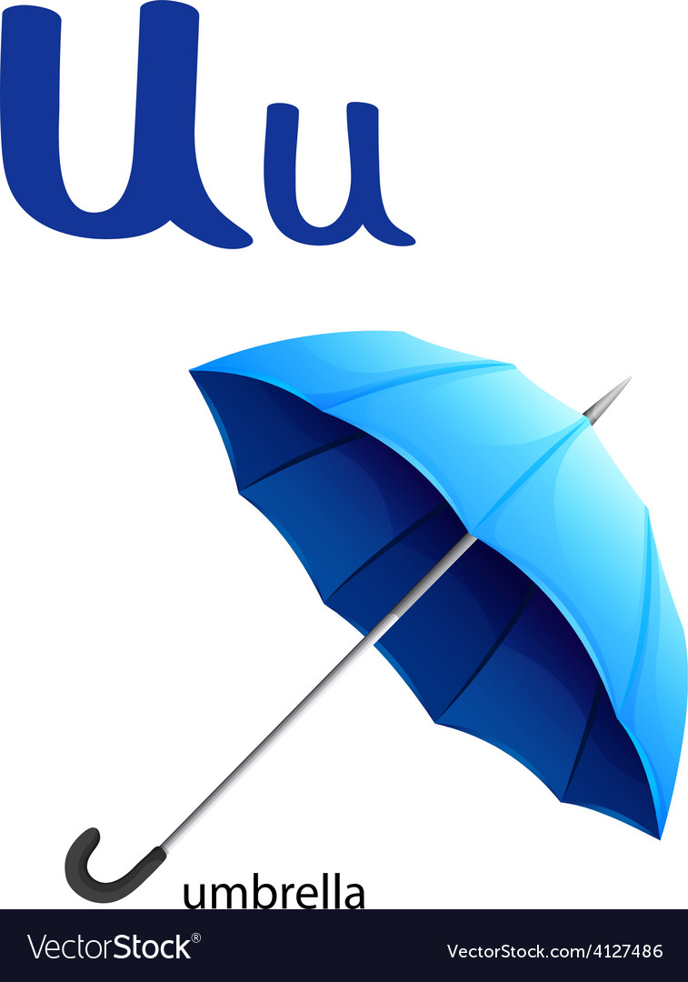 Letter U For Umbrella Vector Image