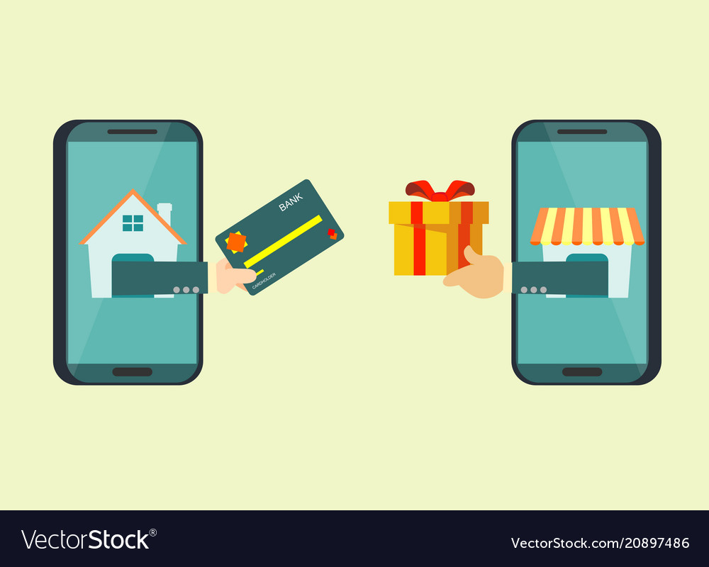 5e2b2a1708e Man use credit card to shopping online and receive vector image