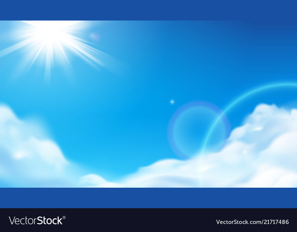 Scenic shining sun with fluffy clouds at sky