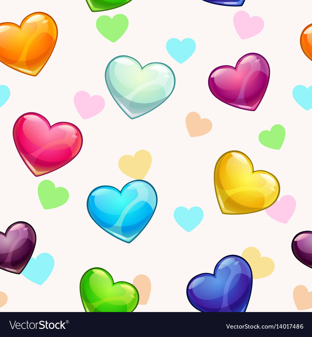 Seamless pattern with colorful glossy hearts vector image