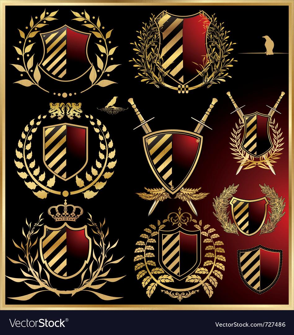 Set of the black shields with golden laurel