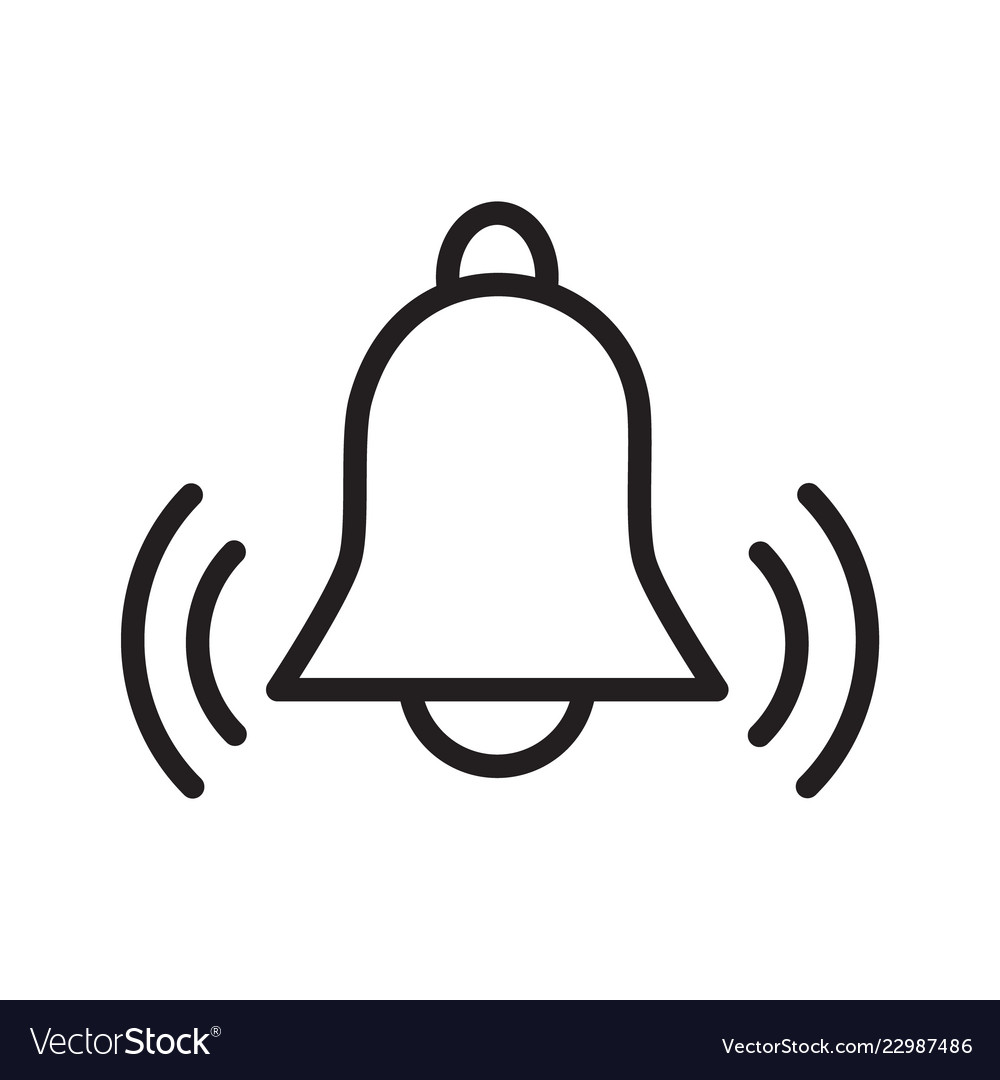 Simple flat black outline icon alarm bell ringing