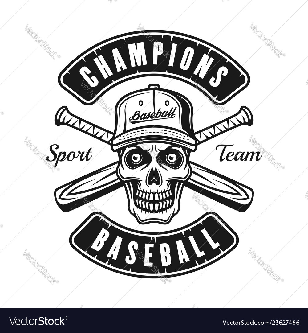 Skull in cap and two baseball bats emblem