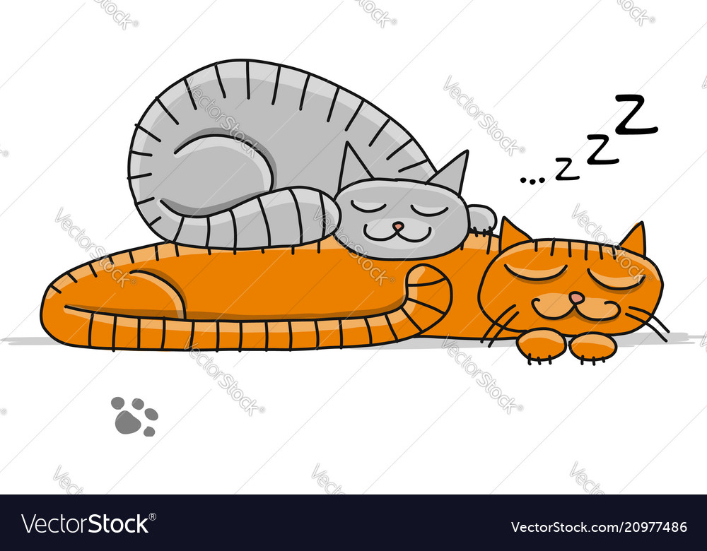 Sleeping cats sketch for your design vector image