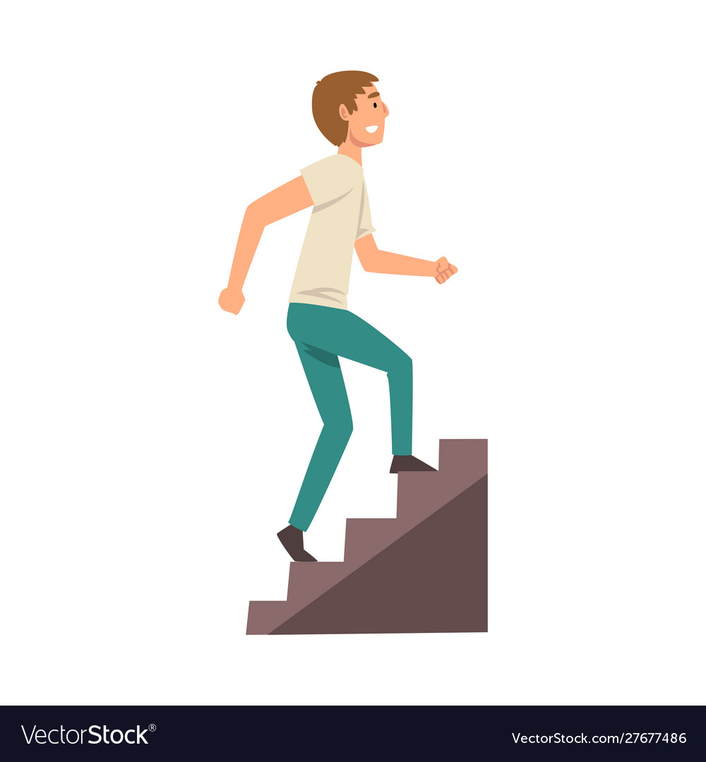 Young man in casual clothes walking up stairway