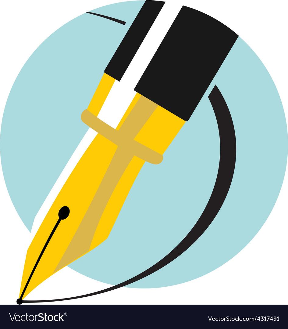 An ink pen Flat colors logo