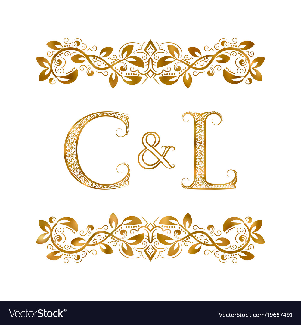 C And L Vintage Initials Logo Symbol The Letters Vector Image