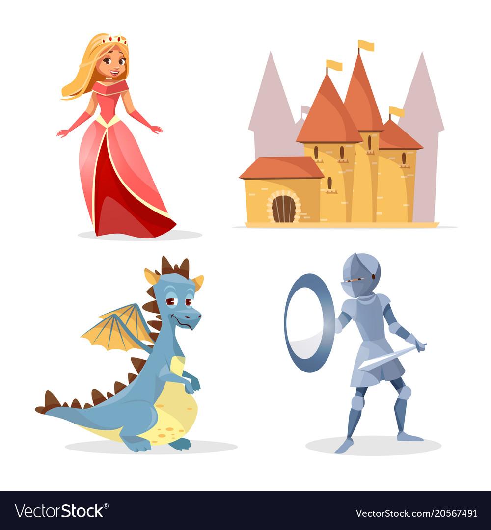 Cartoon medieval fairy tale characters set