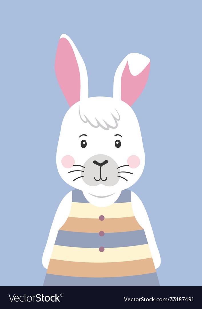 Cute rabbit in striped dress cartoon character