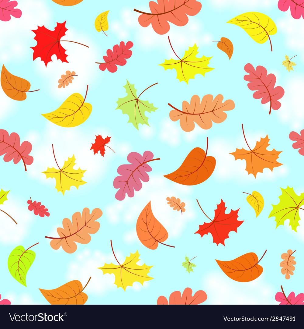 Falling leaves across blue sky seamless pattern