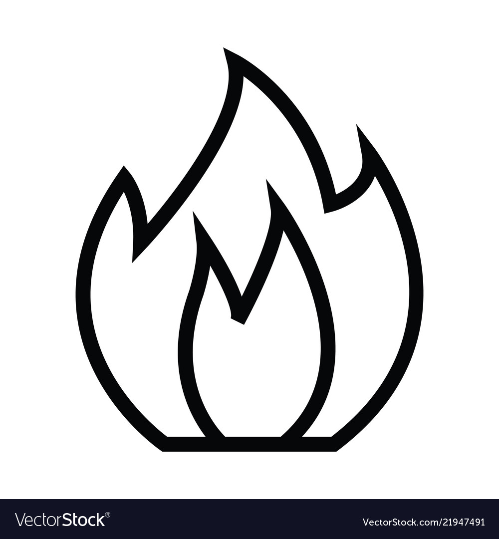 Fire icon with outline line