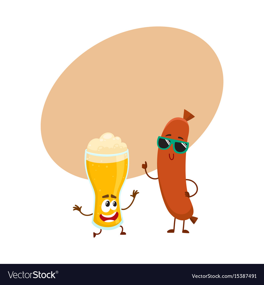 Funny beer glass and frankfurter sausage
