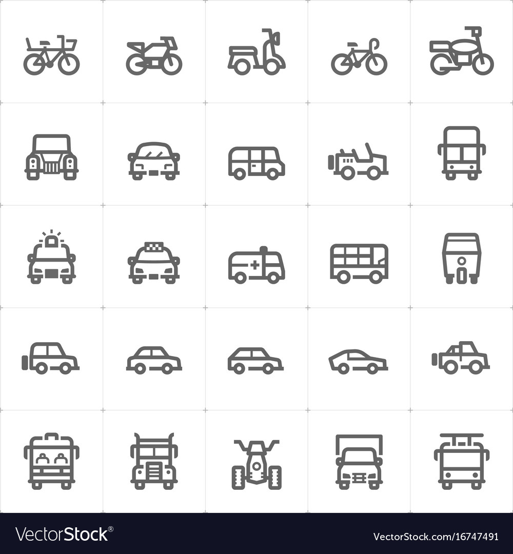 Icon set - vehicle and transport