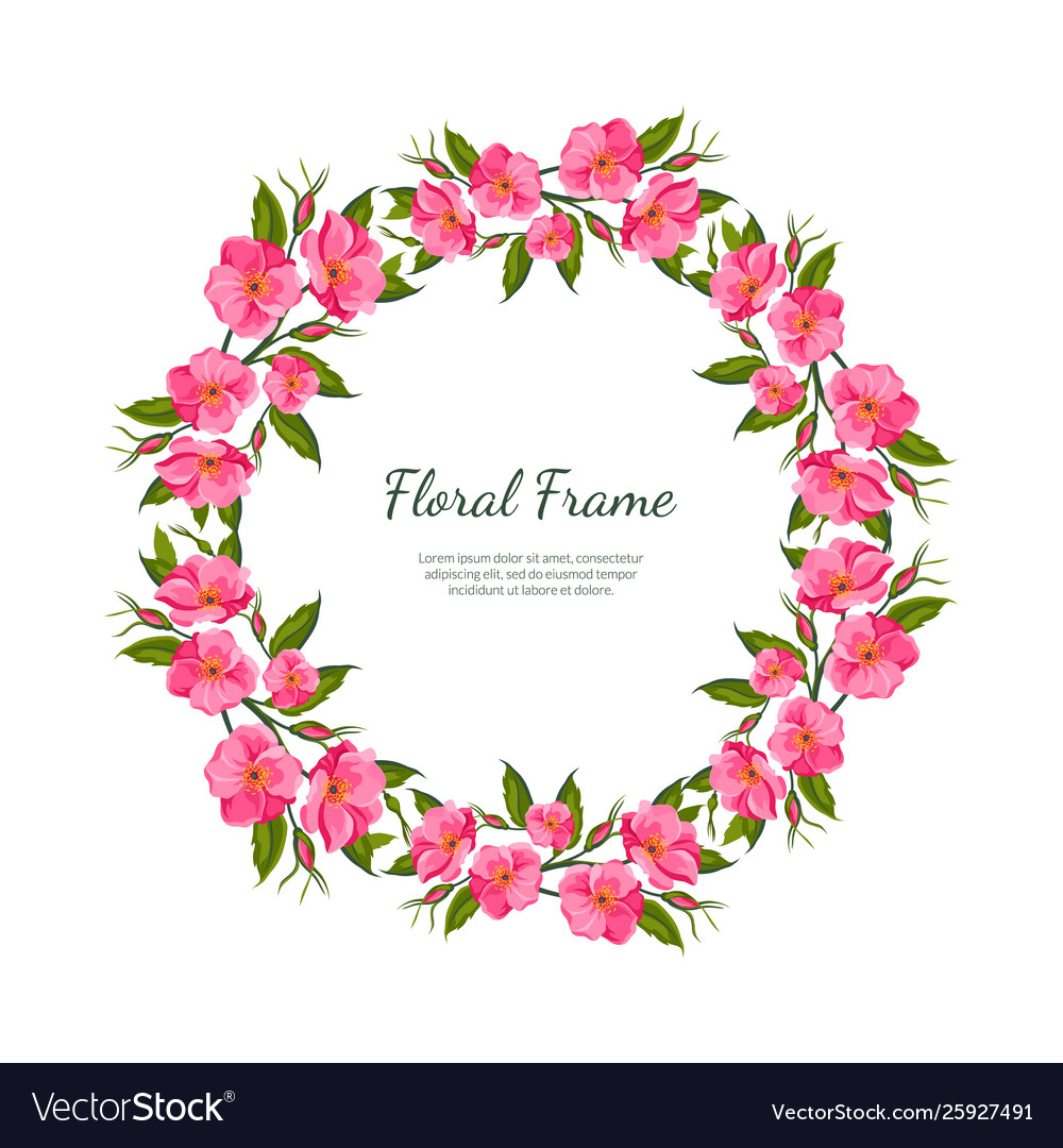 Pink flowers round frame card template with