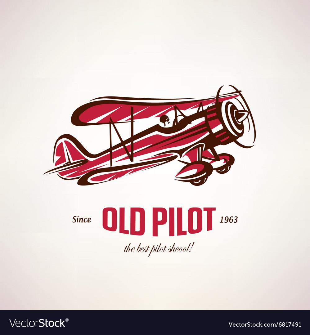 Retro biplane vintage airplane symbol