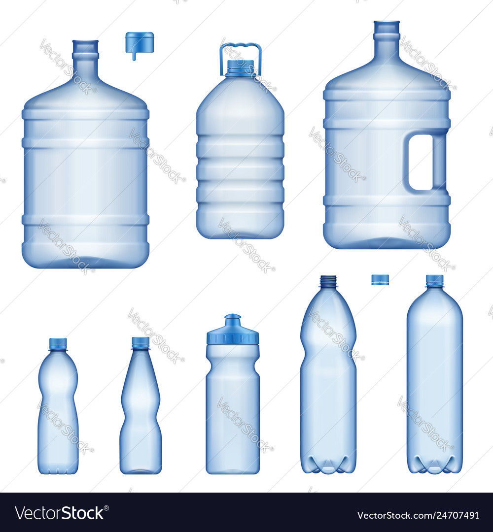 Water bottles realistic plastic liquid containers