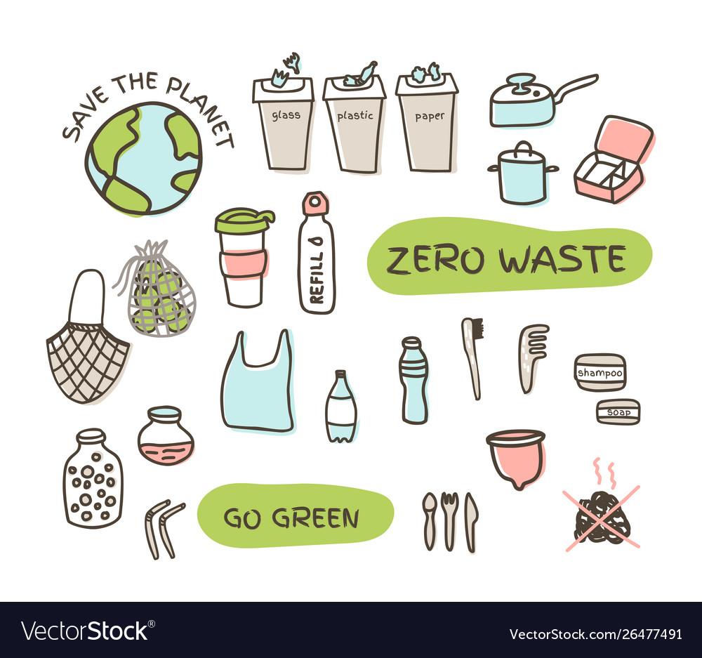 Zero waste elements set fabric bags glass jars