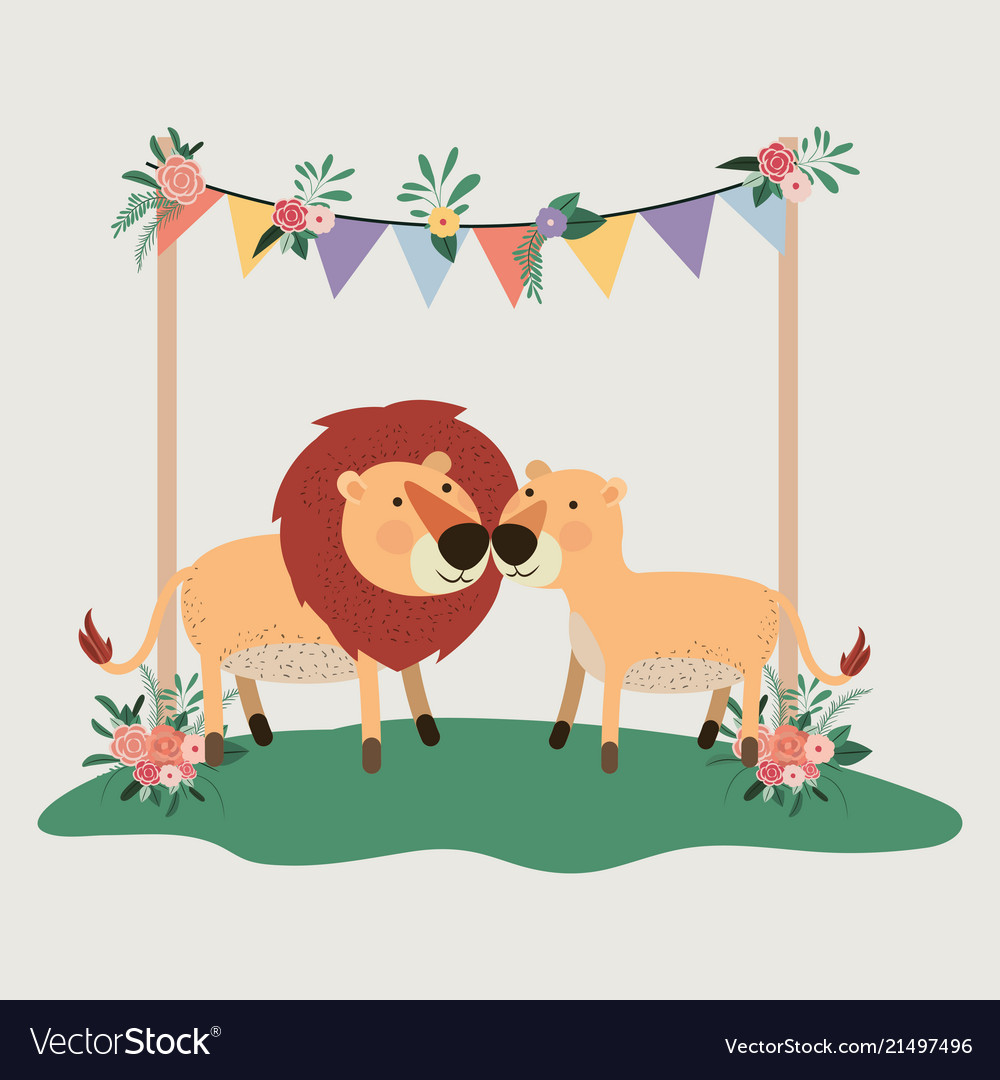 Baby shower card with cute lions couple