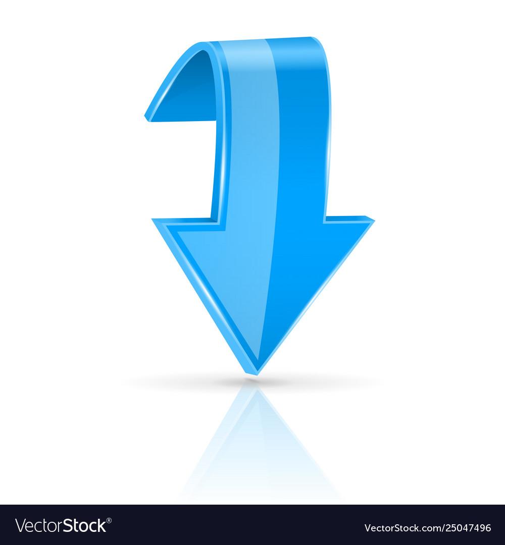 Blue down 3d button