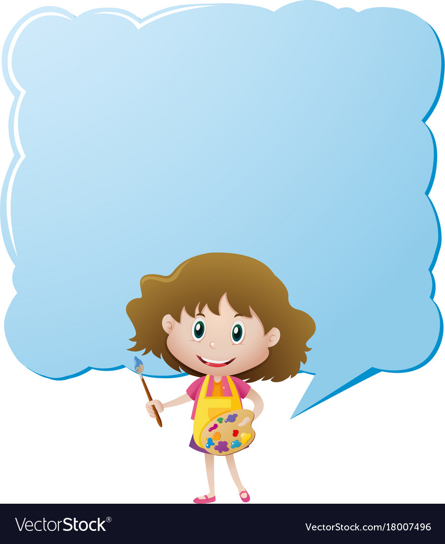 border template with girl and paintbrush vector image