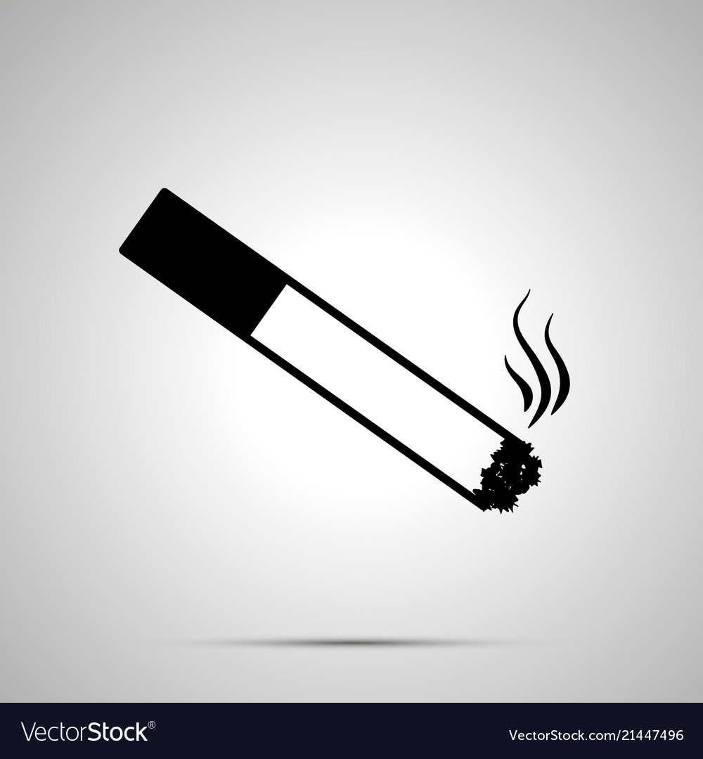 Burning cigarette with smoke simple black icon