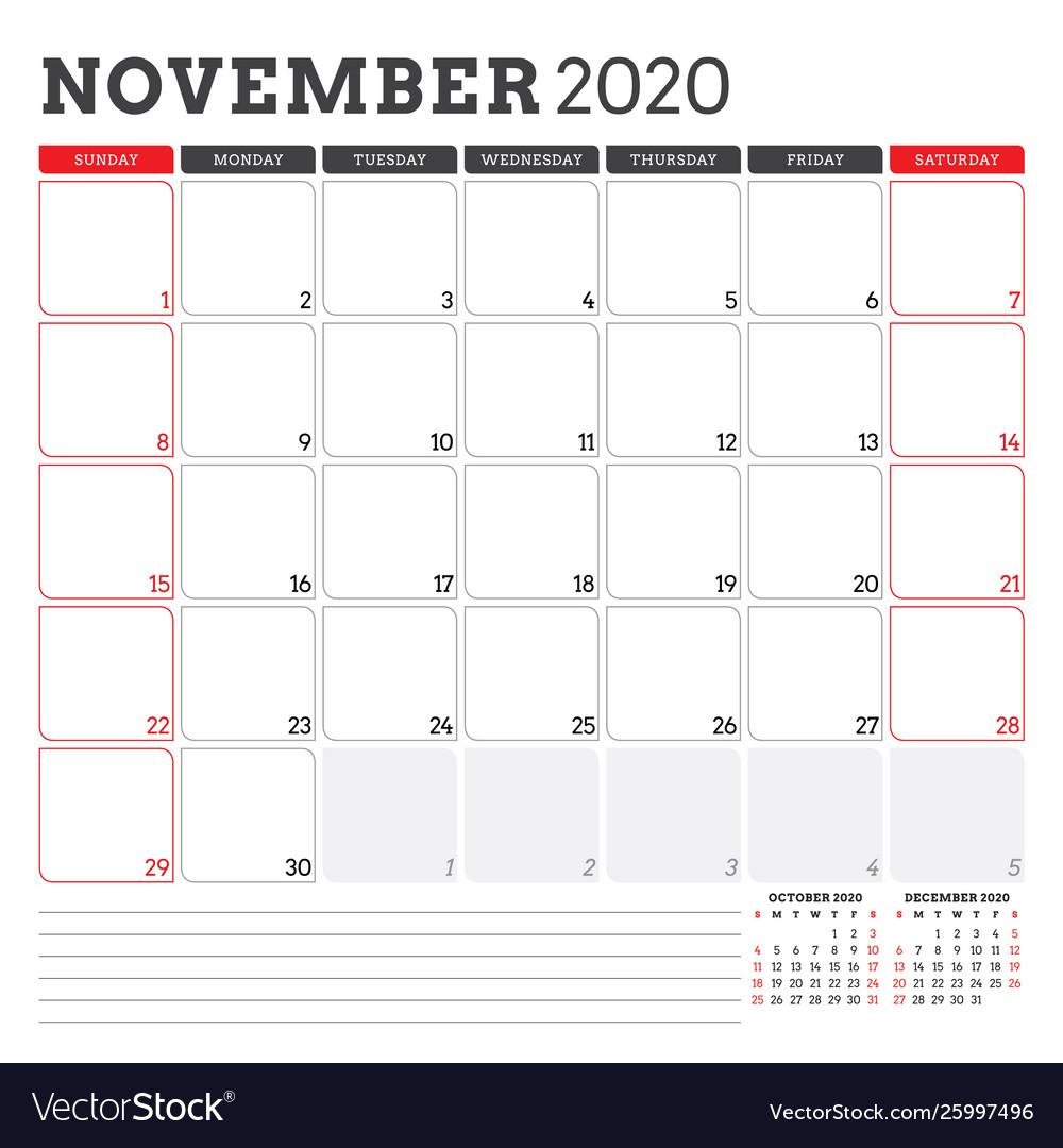 November 2020 Calendar Printable.Calendar Planner For November 2020 Week Starts On