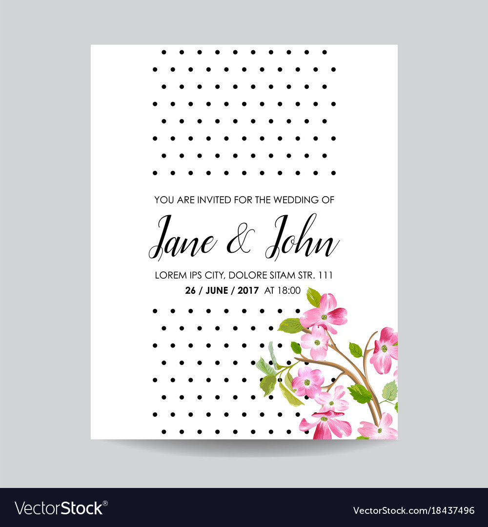 Card with spring cherry flowers for wedding