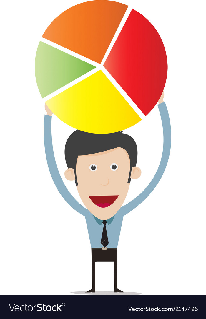 Cartoon Holding Pie Chart Royalty Free Vector Image