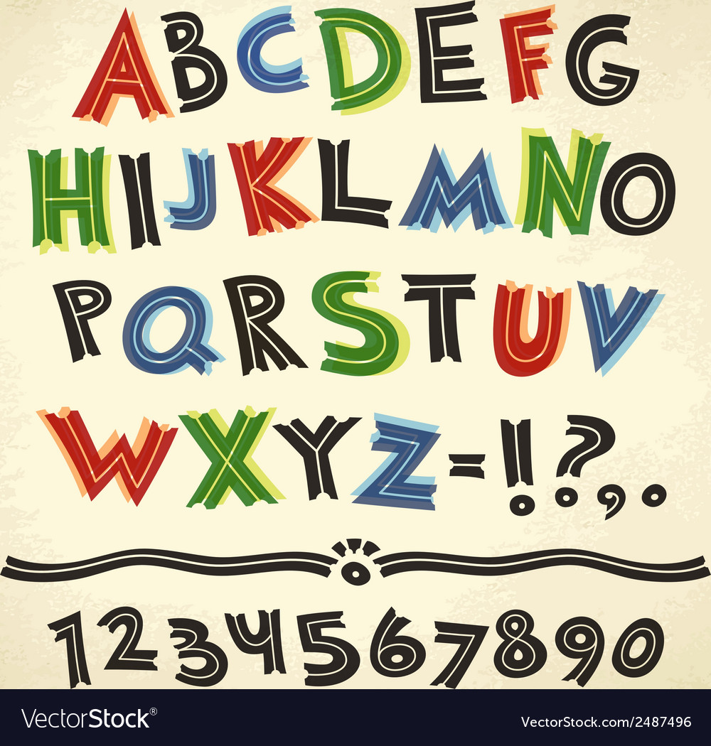 Cartoon Retro Font Colorful on Paper Background vector image