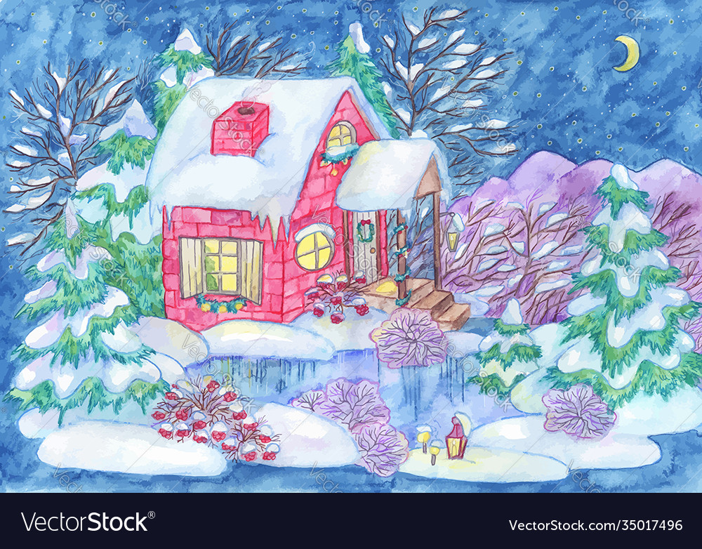 Christmas and new year greeting card with house