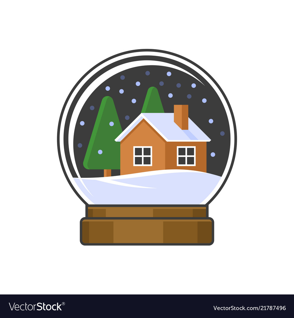 Christmas snow globe with home and trees