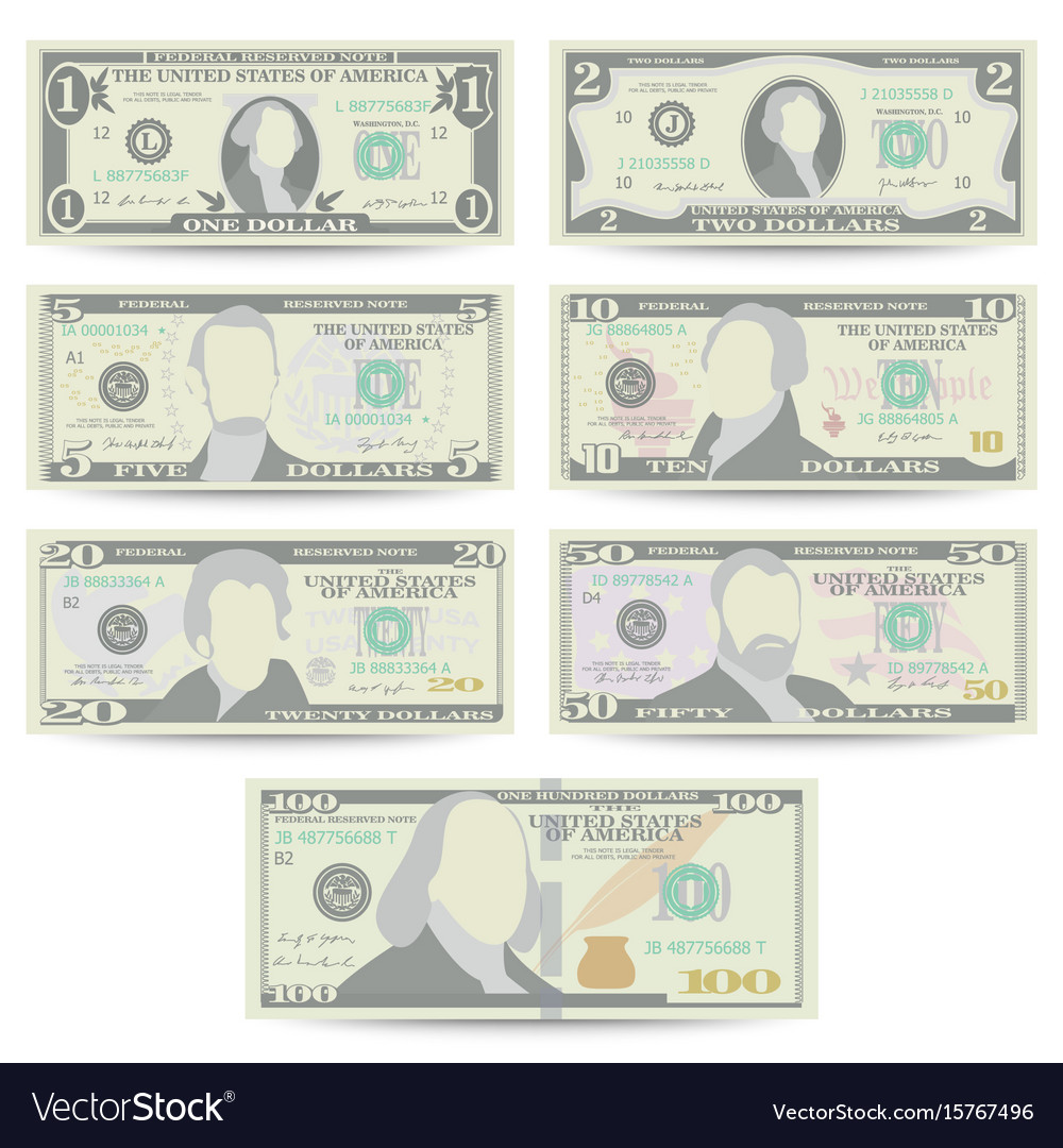 Dollars banknote set cartoon us currency