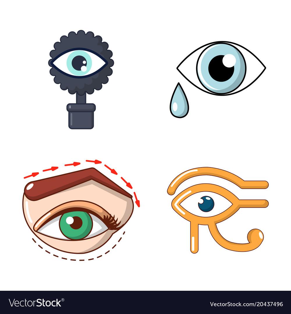 Eyes icon set cartoon style