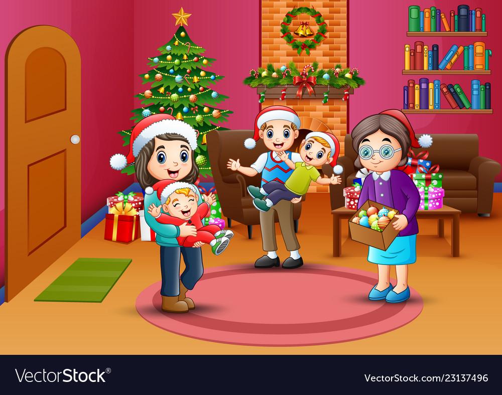 Christmas Celebration Cartoon Images.Happy Family Celebration A Christmas