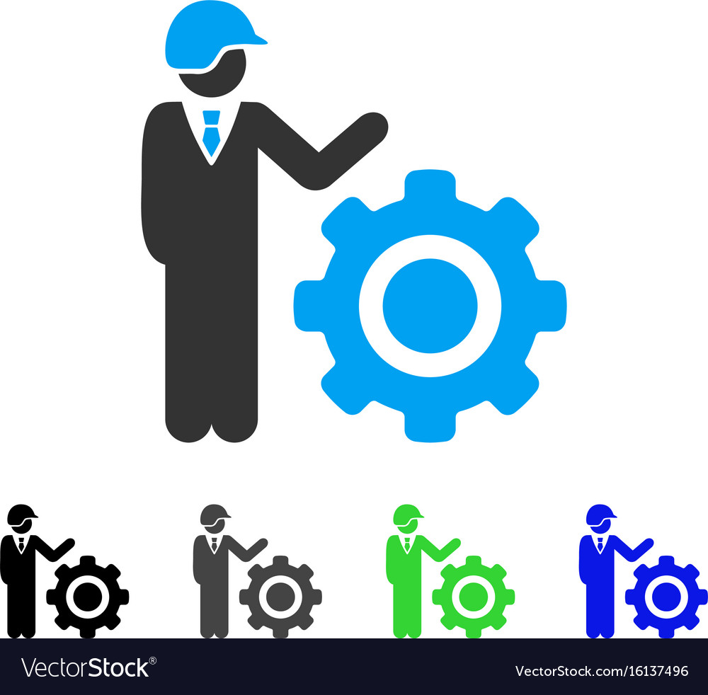 Industrial gear engineer flat icon