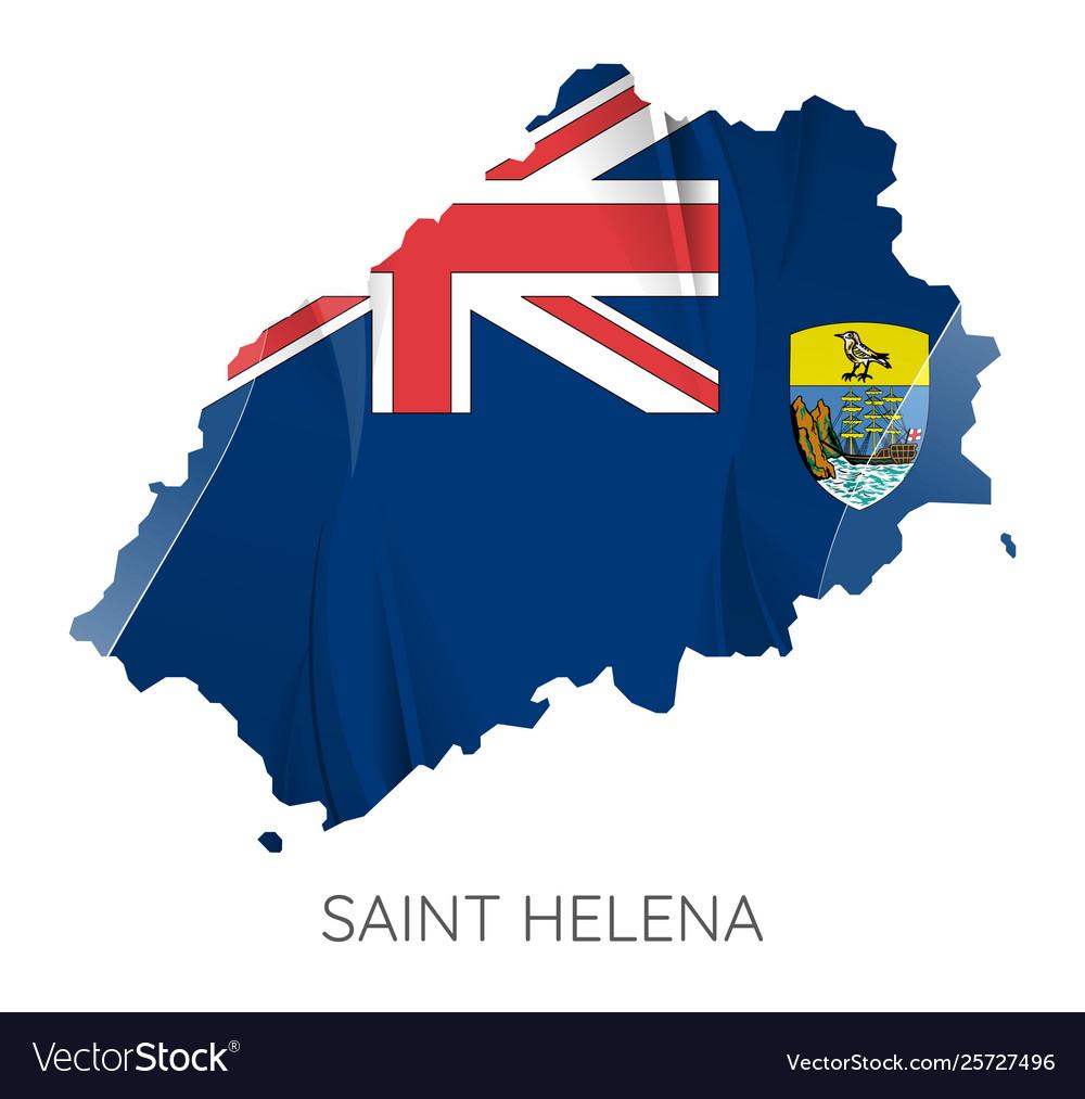 Map saint helena with flag