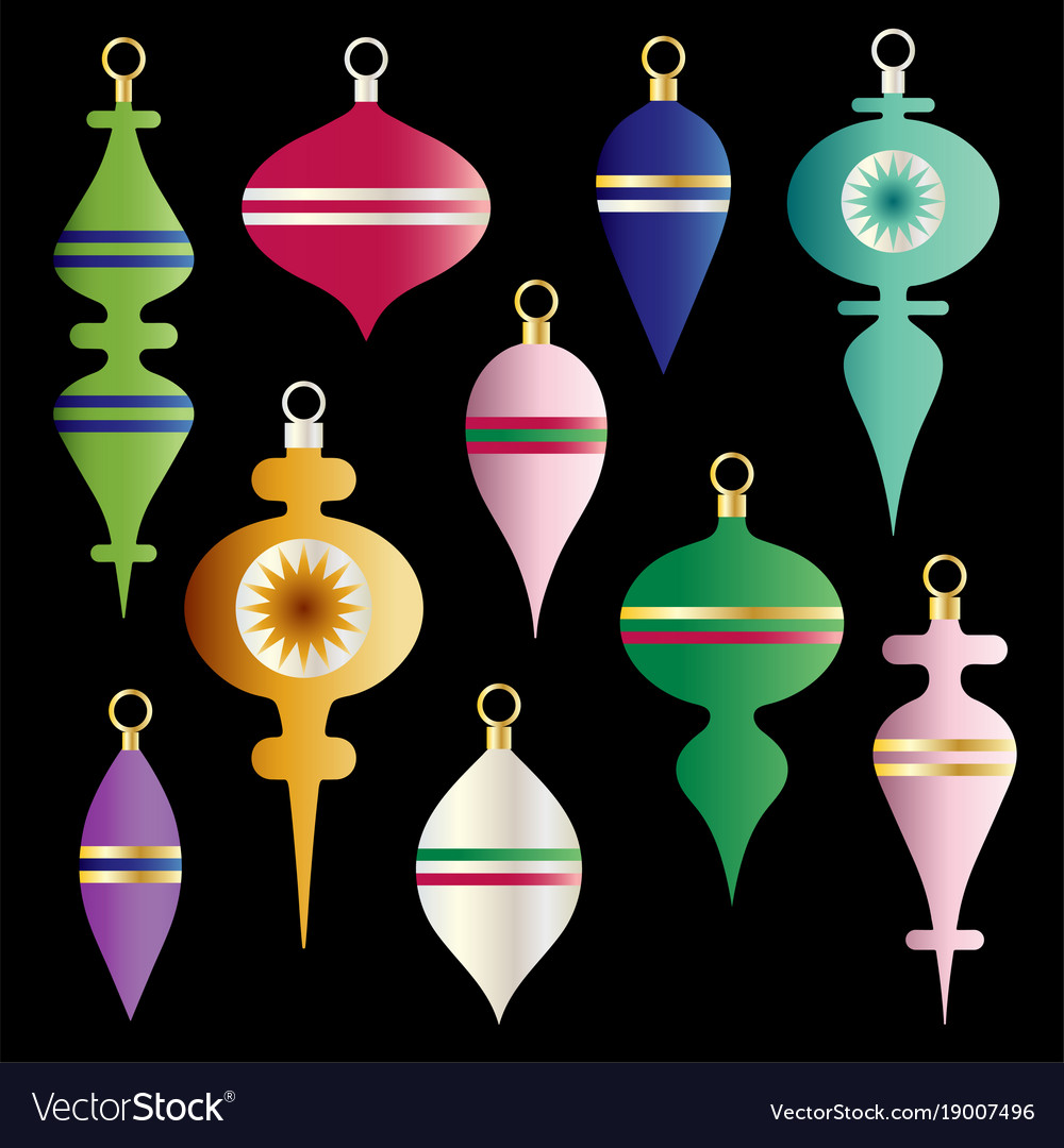 Metallic Gradient Christmas Ornaments Clipart