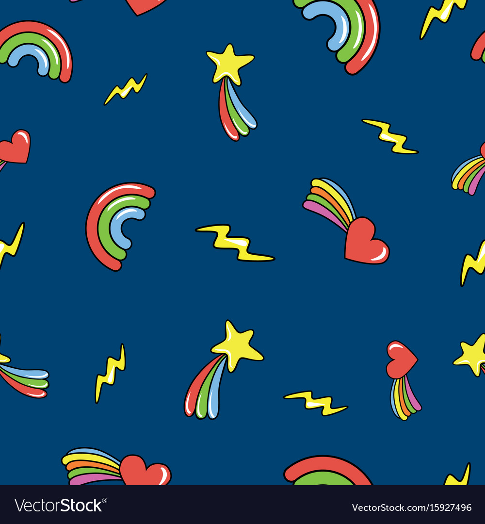 Seamless pattern with doodle comets lightnings