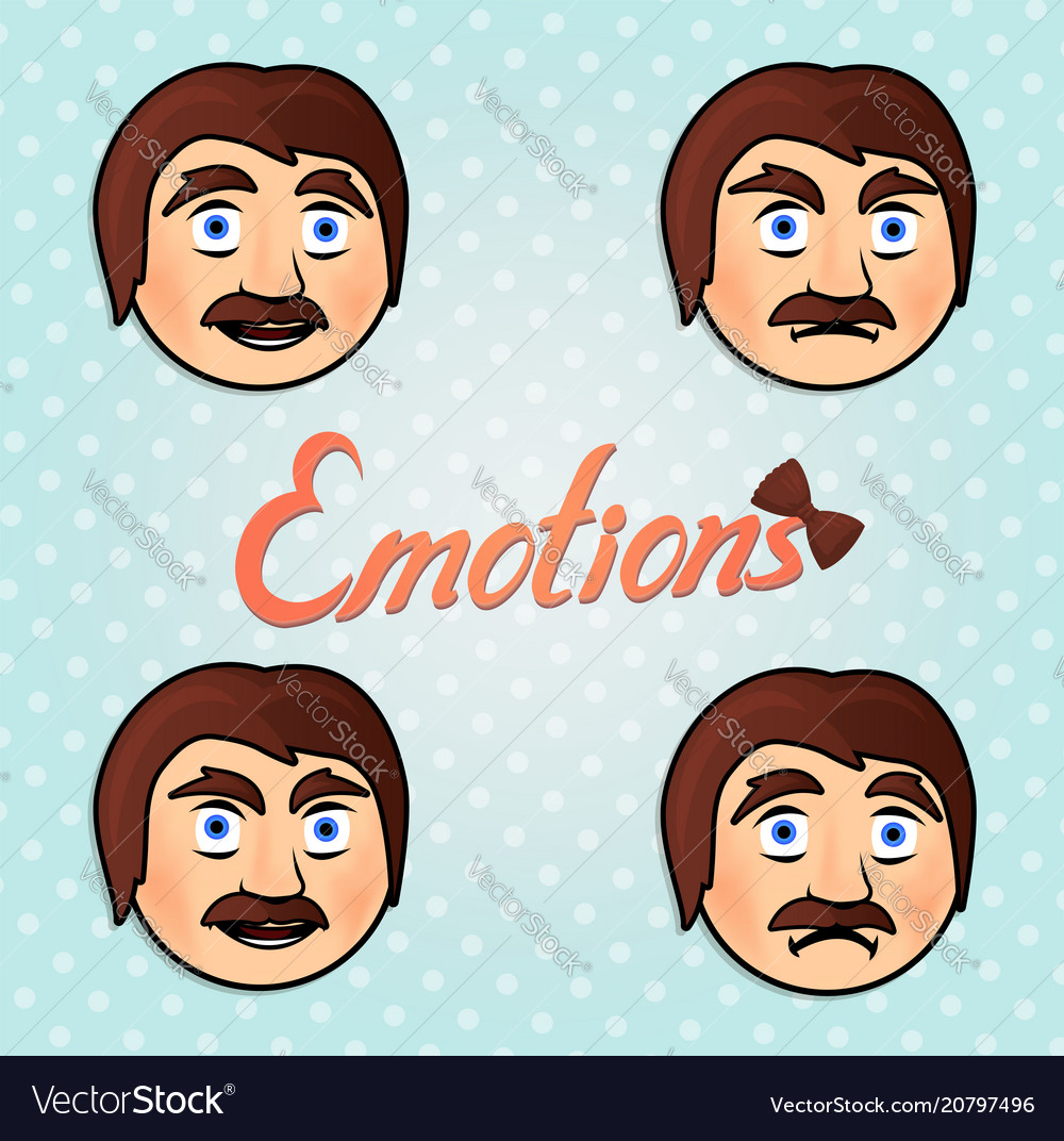 Set with emotional male faces