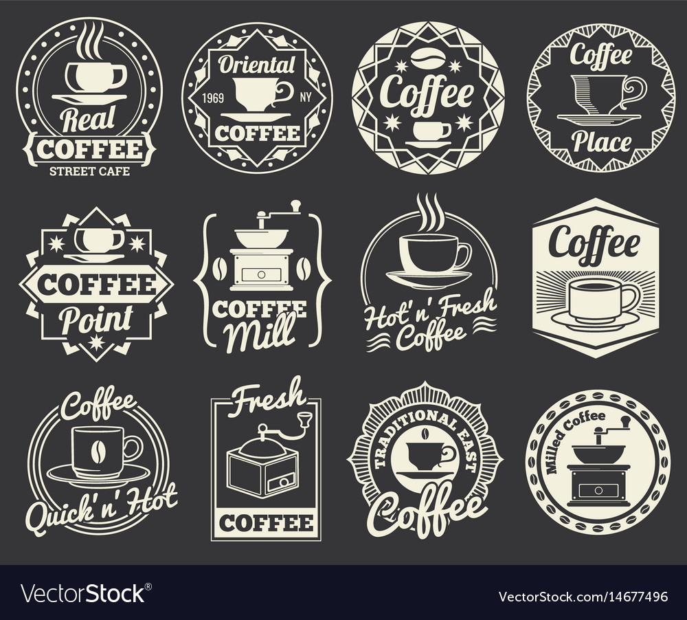 Vintage coffee shop and cafe logos badges and