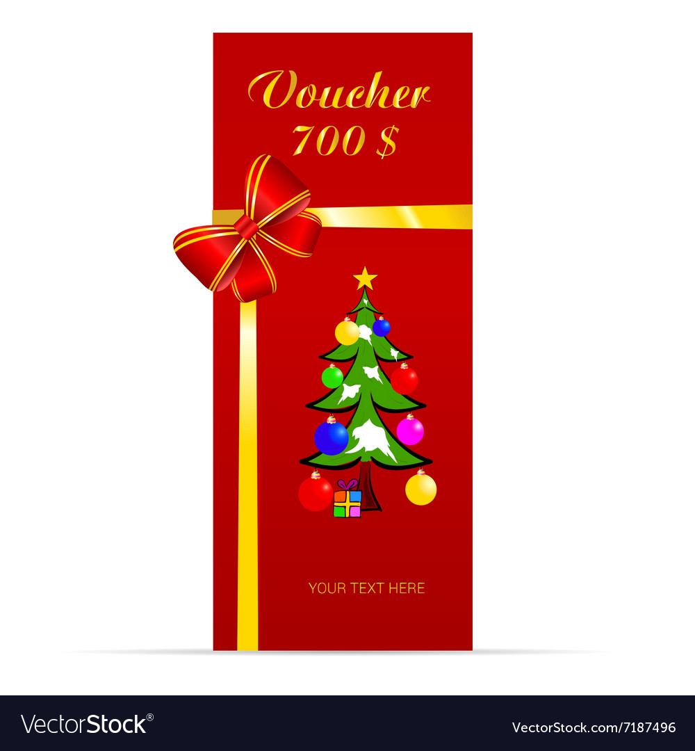 Voucher with christmas tree in colorful