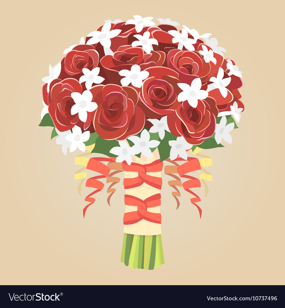 Wedding Bouquet Of Red Roses Royalty Free Vector Image