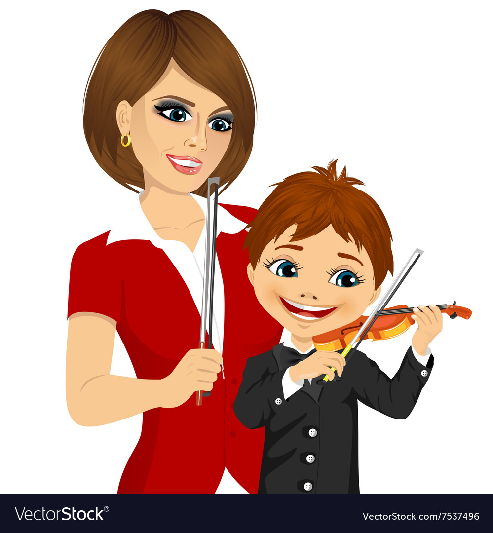 Young boy playing violin in music lesson vector image