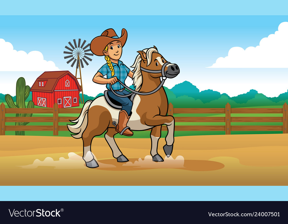 Cowgirl riding horse at ranch