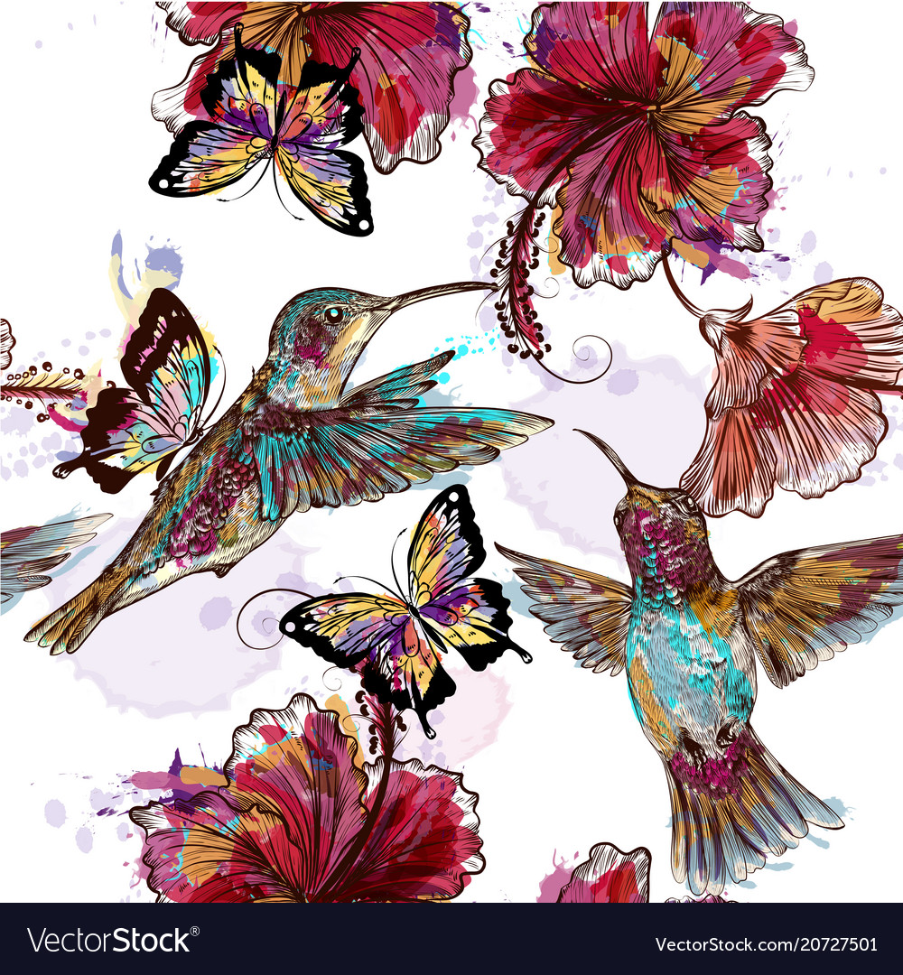 Floral Seamless Wallpaper Pattern With Hummingbird